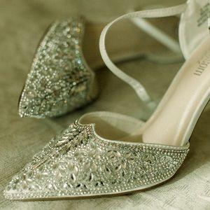 Embellished Bridal Heels-size 10